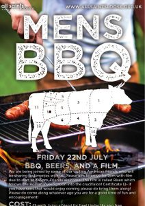 """event flyer design for All Saints Loose featuring a man grilling and the title """"Men's BBQ"""""""