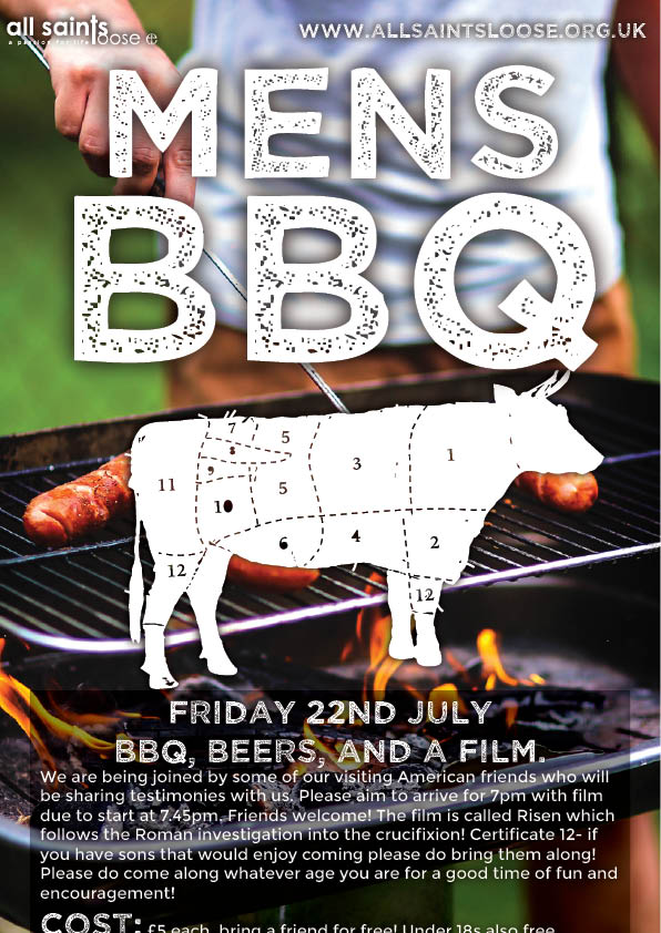 "event flyer design for All Saints Loose featuring a man grilling and the title ""Men's BBQ"""