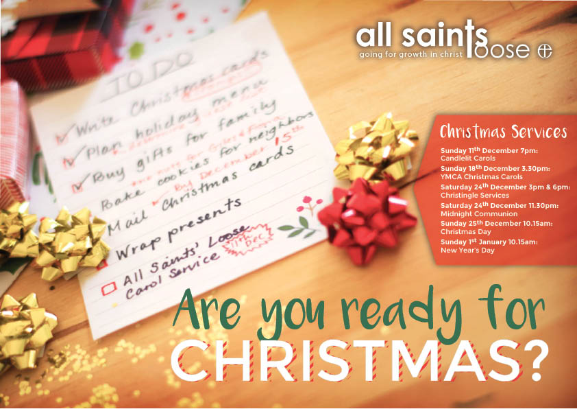 "flyer design for All Sains Loose proclaiming ""Are you Ready for Christmas?"" with bows and a holiday to-do list"