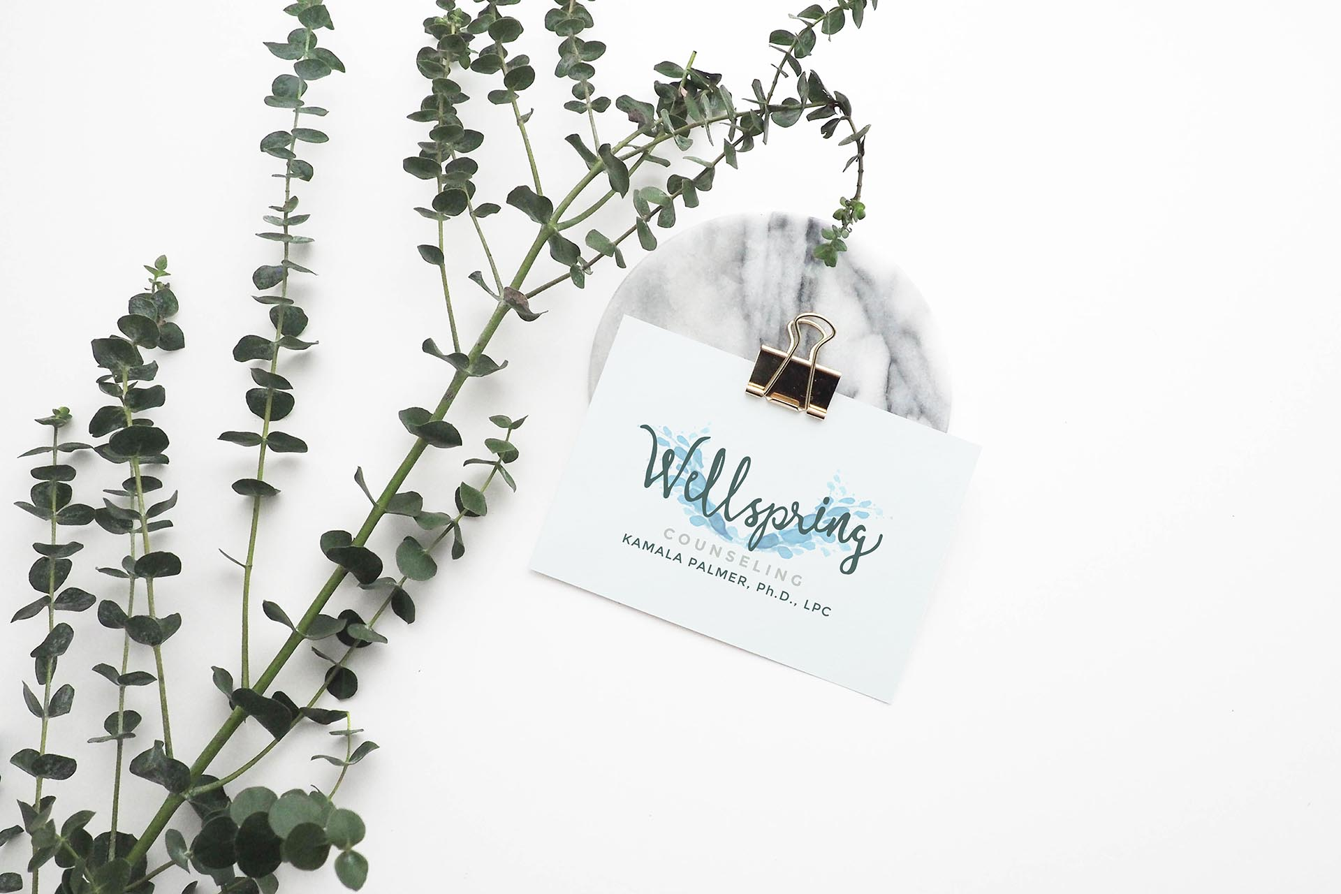logo design for Wellspring Counseling shown on a small white card with a eucalyptus branch on a white background