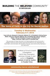 single-sided flyer design for The Beloved Community Symposium at Mercer University