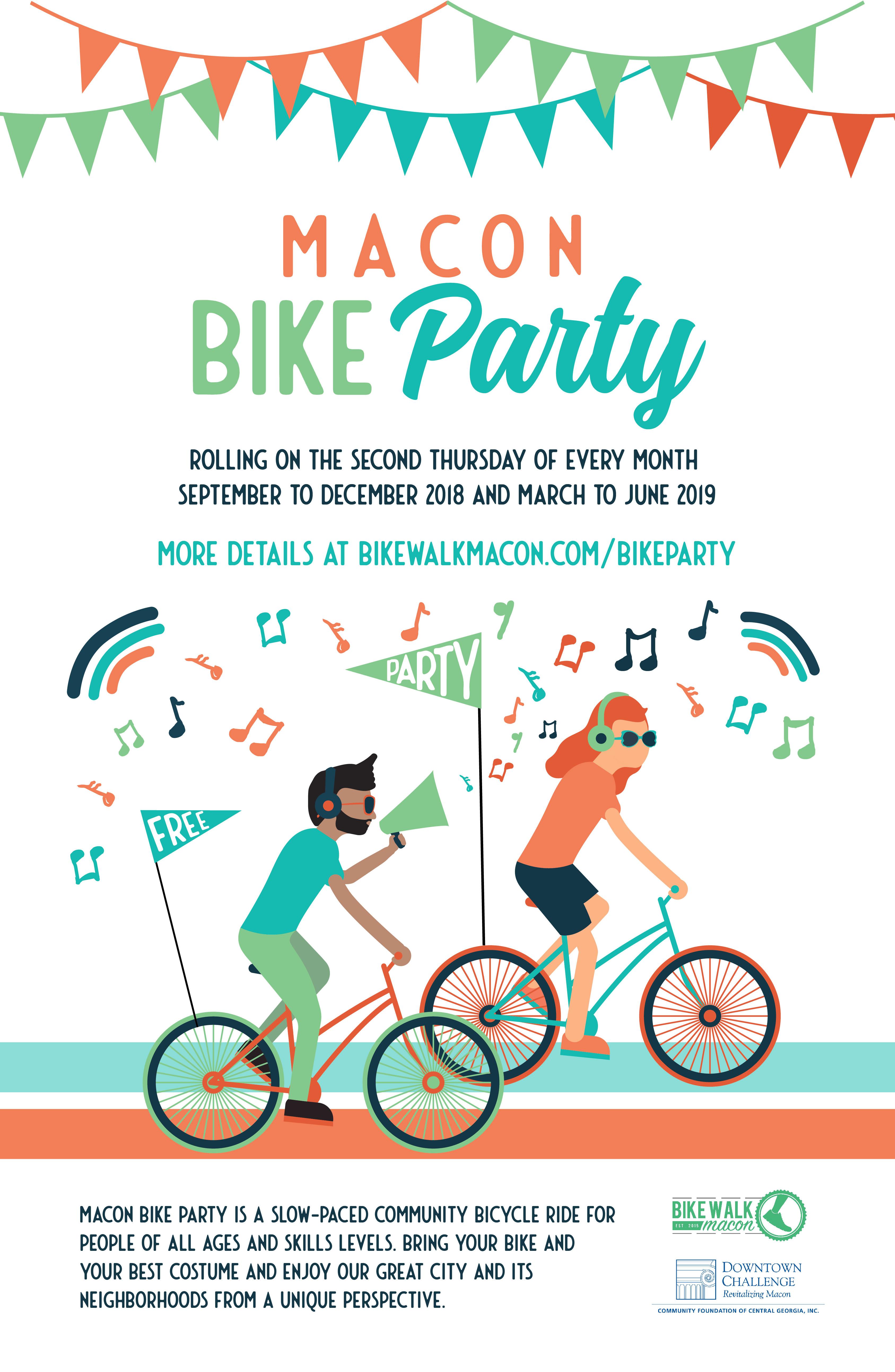 Macon Bike Party flyer design isolated on white for Bike Walk Macon
