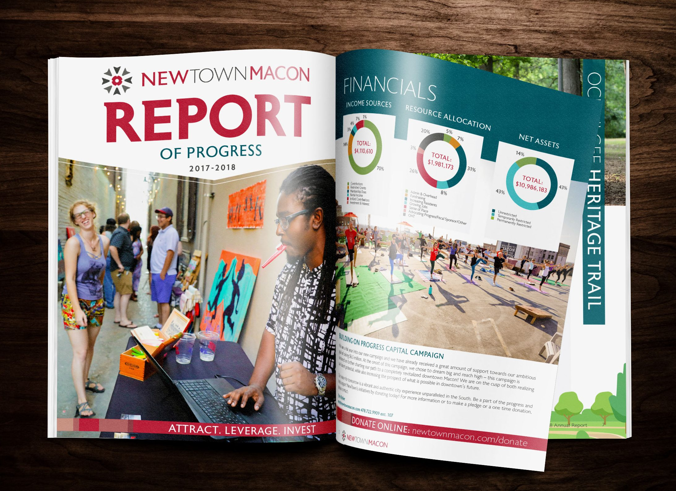multi-page annual report design for the non-profit organization NewTown Macon in Macon, Georgia