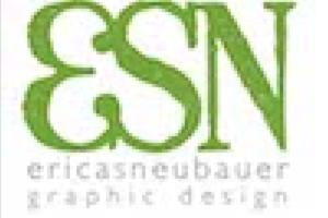logo for Erica Neubauer graphic design, showing pixel distortion