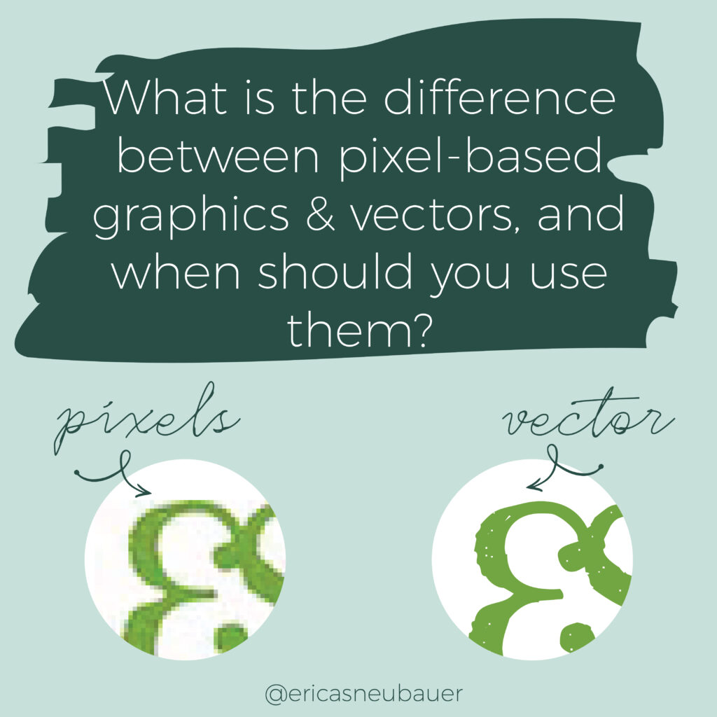 graphic showing the difference between pixel based and vector graphics, using the Erica Neubauer graphic design logo as an example
