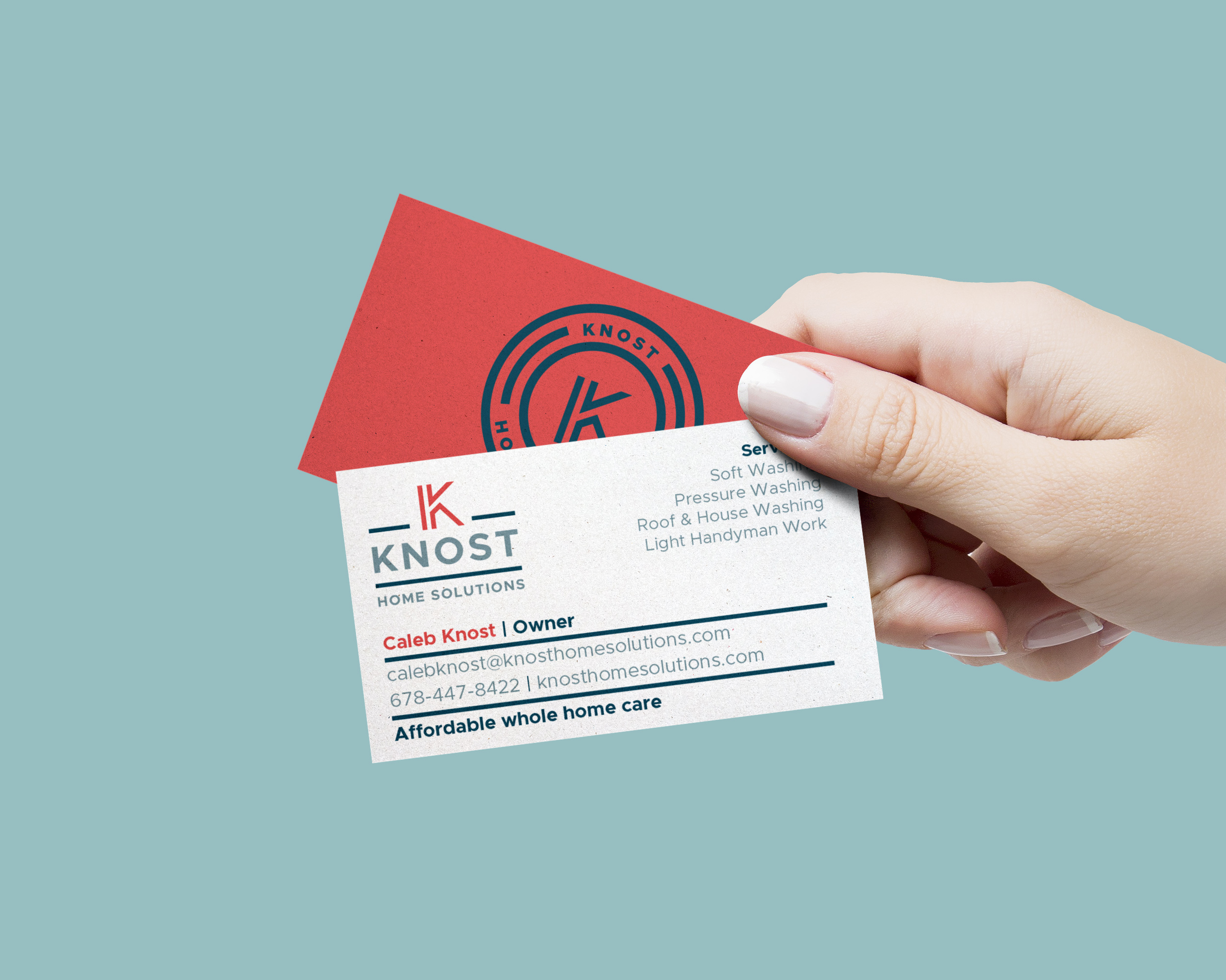 business cards showing the start-up logo design for Knost Home Solutions in Macon, Georgia