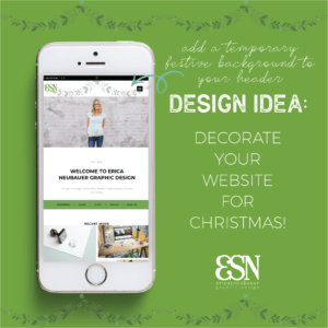 image of iPhone showing the mobile website for ericasneubauer.com with a Christmas graphic